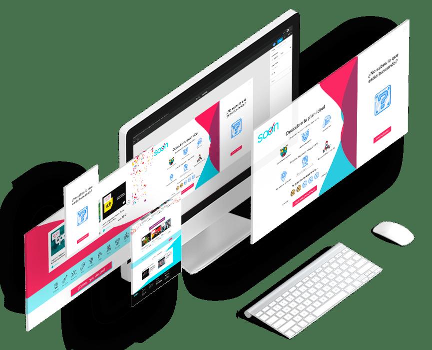 mockup de un ordenador con un diseño de plataforma digital